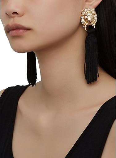 Lion Tassel Drop Earrings,BLACK,large