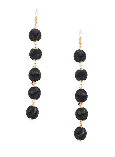 Thread Wrapped Bead Drop Earrings,BLACK,large