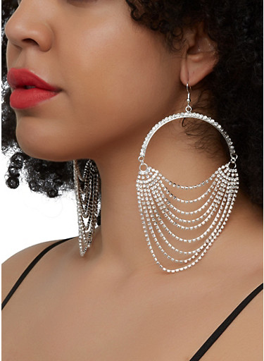 Layered Rhinestone Fringe Drop Earrings,SILVER,large
