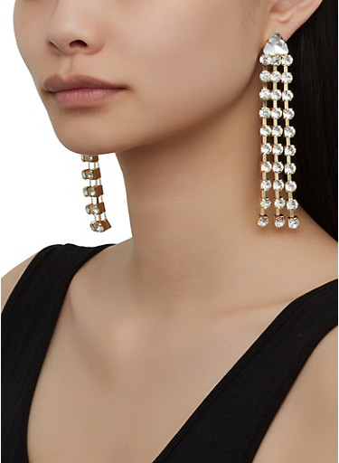 Rhinestone Fringe Chandelier Earrings,GOLD,large