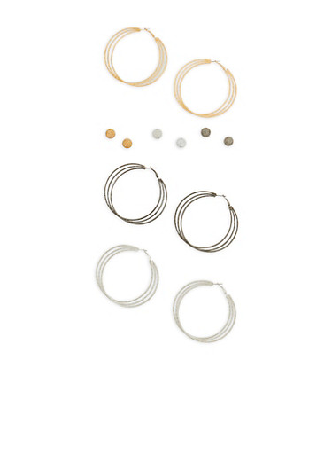 Tri Color Stud and Hoop Earrings Set,TRITONE (SLVR/GLD/HEMAT),large