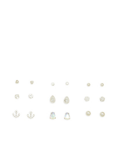 Set of 9 Assorted Rhinestone Stud Earrings,SILVER,large