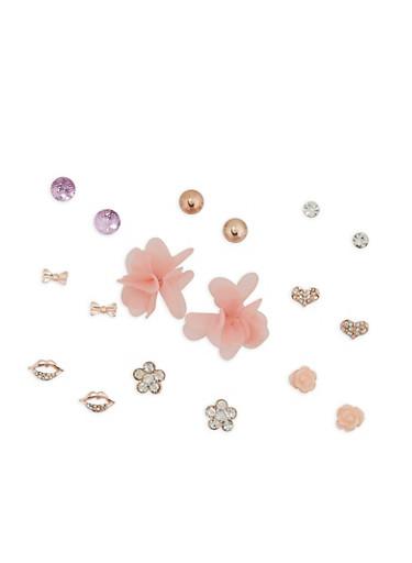 Set of 9 Assorted Stud Earrings,ROSE,large
