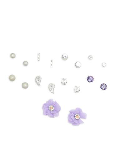 Rhinestone Flower Stud Earrings Set,SILVER,large