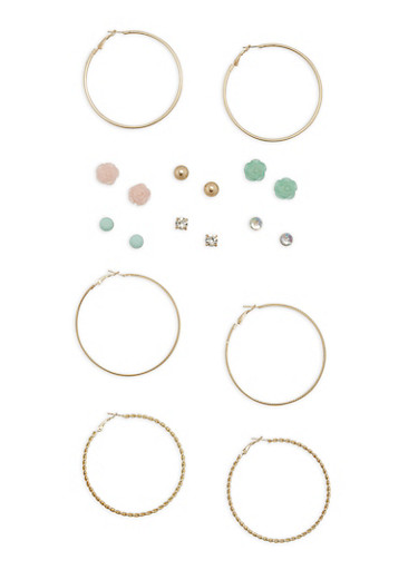 Flower Studs and Hoop Earrings Set,GOLD,large