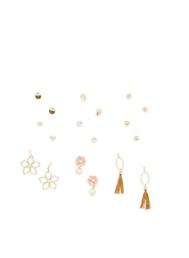 Flower Tassel Assorted Earrings Set,GOLD,large