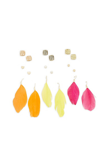 Assorted Stud and Feather Earrings Set,FUCHSIA,large