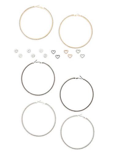 Assorted Stud and Large Hoop Earrings Set,TRITONE (SLVR/GLD/HEMAT),large