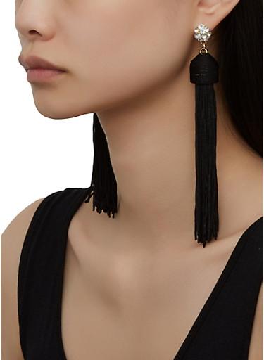 Rhinestone Tassel Drop Earrings,BLACK,large