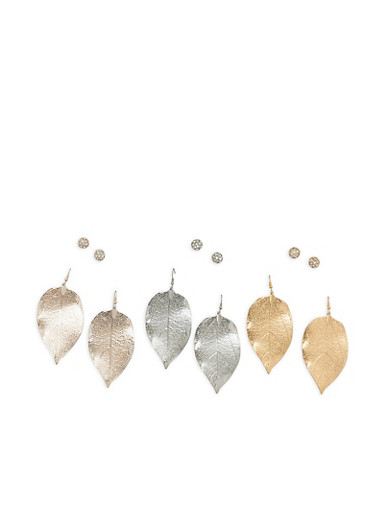 Set of 6 Metallic Leaf and Rhinestone Earrings,TRITONE (SLVR/GLD/HEMAT),large