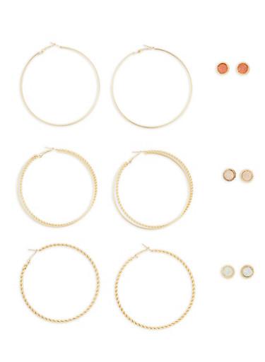 Set of Large Hoop and Rhinestone Stud Earrings,GOLD,large