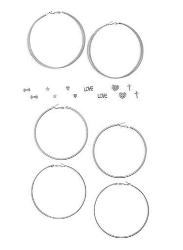 Assorted Stud and Glitter Hoop Earrings Set,SILVER,large