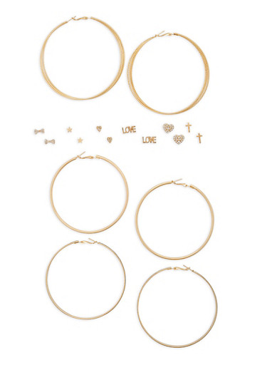 Assorted Stud and Glitter Hoop Earrings Set - 1135035158098