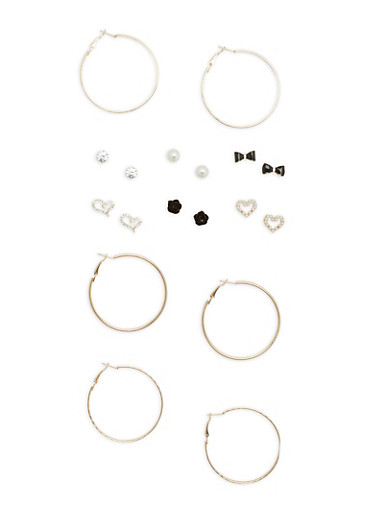 Set of 3 Glitter Hoop and 6 Faux Pearl Stud Earrings,GOLD,large