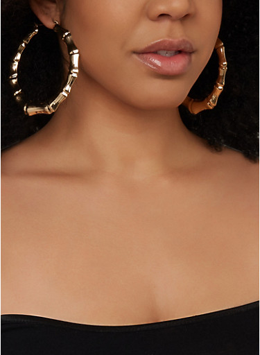 Oversized Bamboo Hoop Earring Trio,GOLD,large