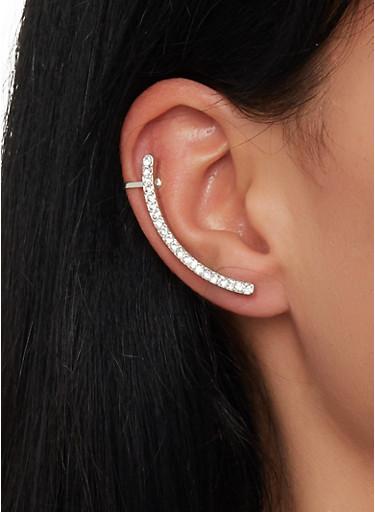 Rhinestone Ear Cuff,SILVER,large
