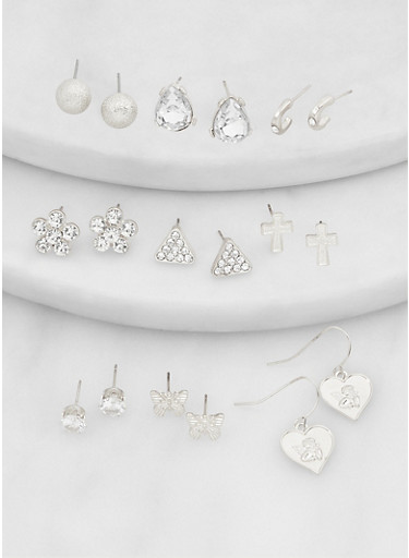Set of 9 Assorted Cubic Zirconia Earrings,SILVER,large