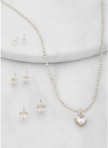 Heart Rhinestone Necklace and Stud Earring Trio Set,SILVER,large