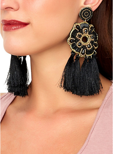 Beaded Tassel Chandelier Earrings,BLACK,large
