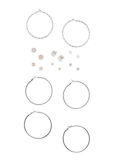 Set of 9 Metallic Rhinestone Stud and Hoop Earrings,SILVER,large