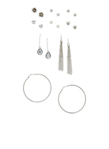 Set of 9 Assorted Earrings,SILVER,large