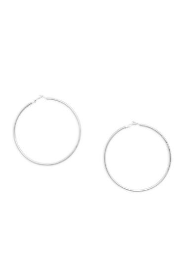 Extra Large Tube Hoop Earrings,SILVER,large