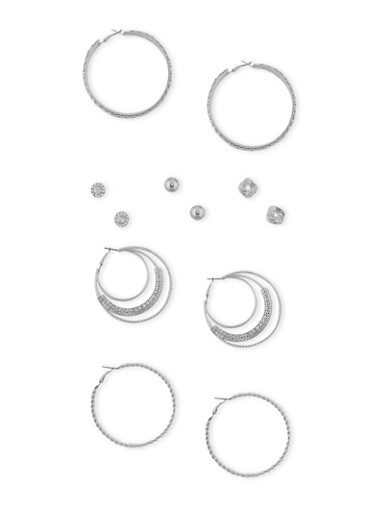 Set of 6 Multi Textured Studs with Twist and Mesh Hoop Earrings,SILVER,large
