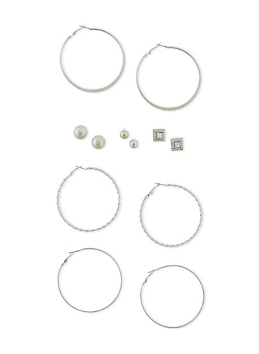 Set of 6 Assorted Earring Set,SILVER,large