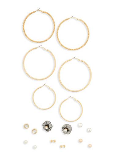 Set of 9 Flower Stud Hoop Earrings,BLACK,large