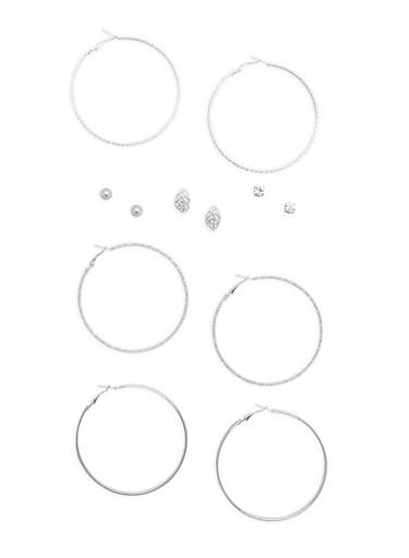 Set of 6 Rhinestone Stud and Glitter Hoop Earrings,SILVER,large