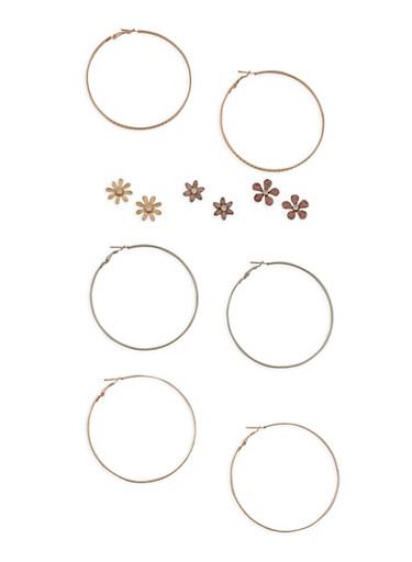 Assorted Set of 6 Earrings,TRITONE (SLVR/GLD/HEMAT),large