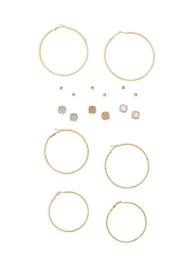 Set of 9 Hoop and Rhinestone Studded Earrings,GOLD,large