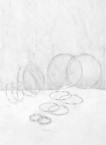 Set of 6 Multi Size Hoop Earrings,SILVER,large