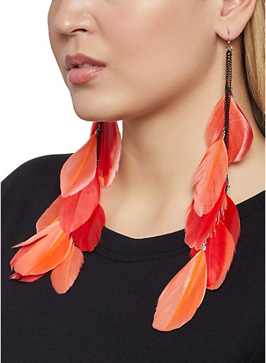 Feather Drop Earrings,RED,large