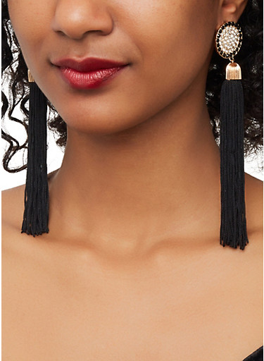 Circular Rhinestone Tassel Drop Earrings,BLACK,large