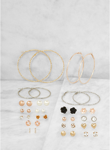 Set of 20 Assorted Stud and Hoop Earrings Set,GOLD,large