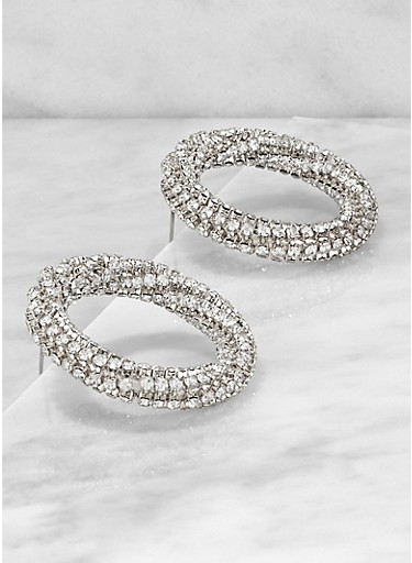 Circular Metallic Rhinestone Post Back Earrings,SILVER,large