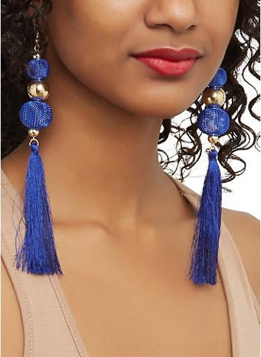 Mesh Beaded Tassel Earrings,NAVY,large