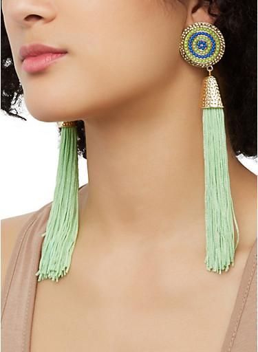 Tassel Beaded Disc Earrings,LIME,large