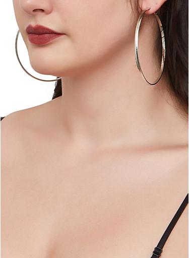 Set of 9 Metallic Textured Hoop Earrings,SILVER,large