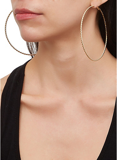 Set of 9 Metallic Twist Hoop Earrings,GOLD,large