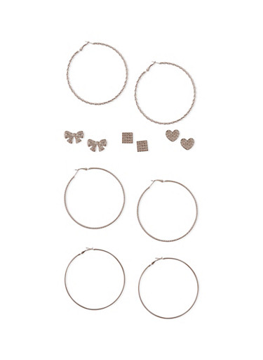 Assorted Loop and Stud Earring Set,SILVER,large