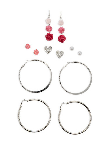 Set of 6 Assorted Earrings,SILVER,large