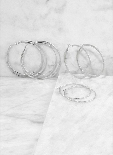 Textured Metallic Flat Hoop Earring Trio,SILVER,large