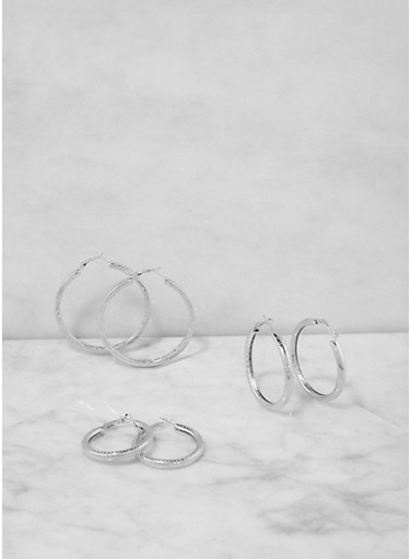 Assorted Size Hoop Earring Trio,SILVER,large