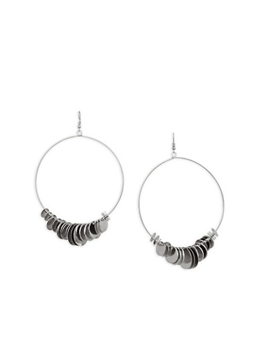 Large Metal Disc Hoop Earrings,SILVER,large