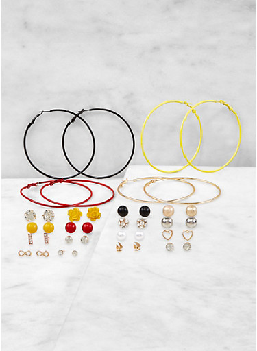 Assorted Stud and Colored Hoop Earrings Set,RED,large