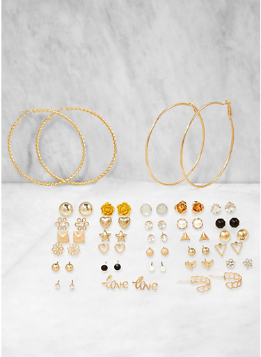 Set of 30 Assorted Hoop and Stud Earrings,YELLOW,large