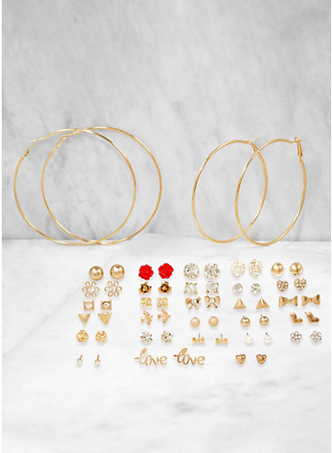 Set of 30 Assorted Hoop and Stud Earrings,RED,large
