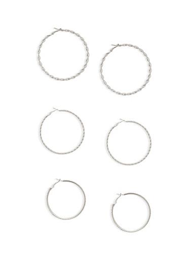 Set of 3 Twist and Rhinestone Hoop Earrings,SILVER,large